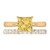 2.50 CT Citrine Solitaire and Moissanite Bridal Ring Set
