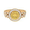 2.75 CT Floral Halo Engagement Ring with Citrine Solitaire and Moissanite