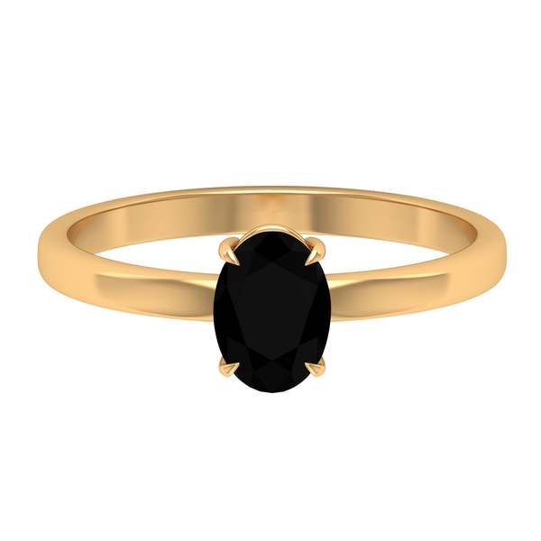 1.25 CT Oval Cut Lab Created Black Diamond Solitaire Ring
