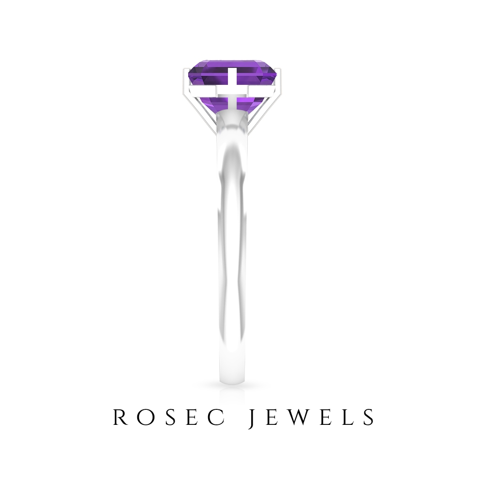 Two Tone Solitaire Ring with 1.25 CT Amethyst