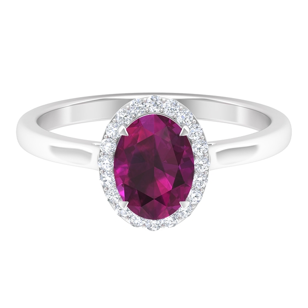 1.75 CT Oval Cut Rhodolite Ring with Diamond Halo