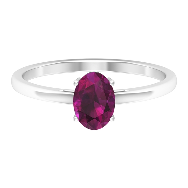 1 CT Oval Cut Rhodolite Solitaire Engagement Ring