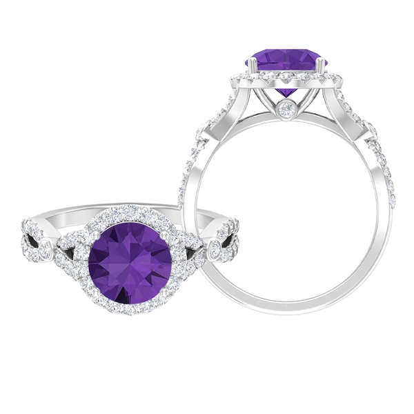 2.75 CT Statement Engagement Ring with Created Lavender Amethyst Solitaire and Moissanite Accent