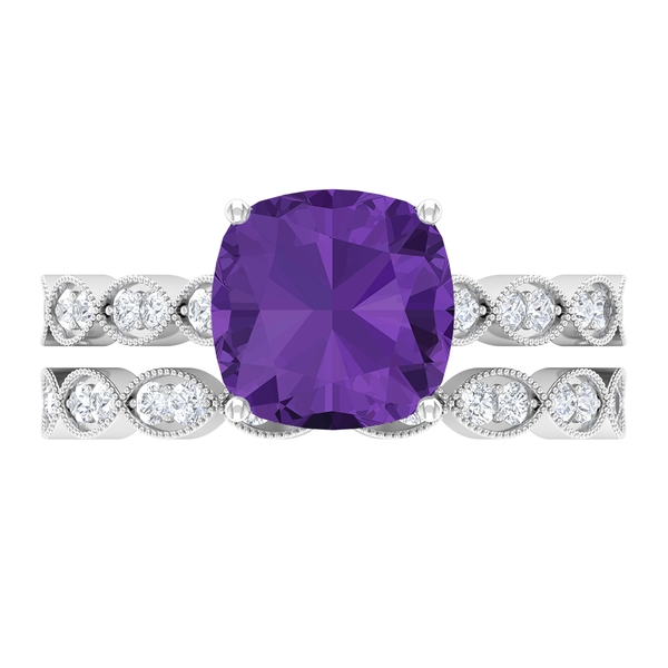 3 CT Lab Created Lavender Amethyst and Moissanite Engagement Ring and Moissanite Enhancer Ring Set