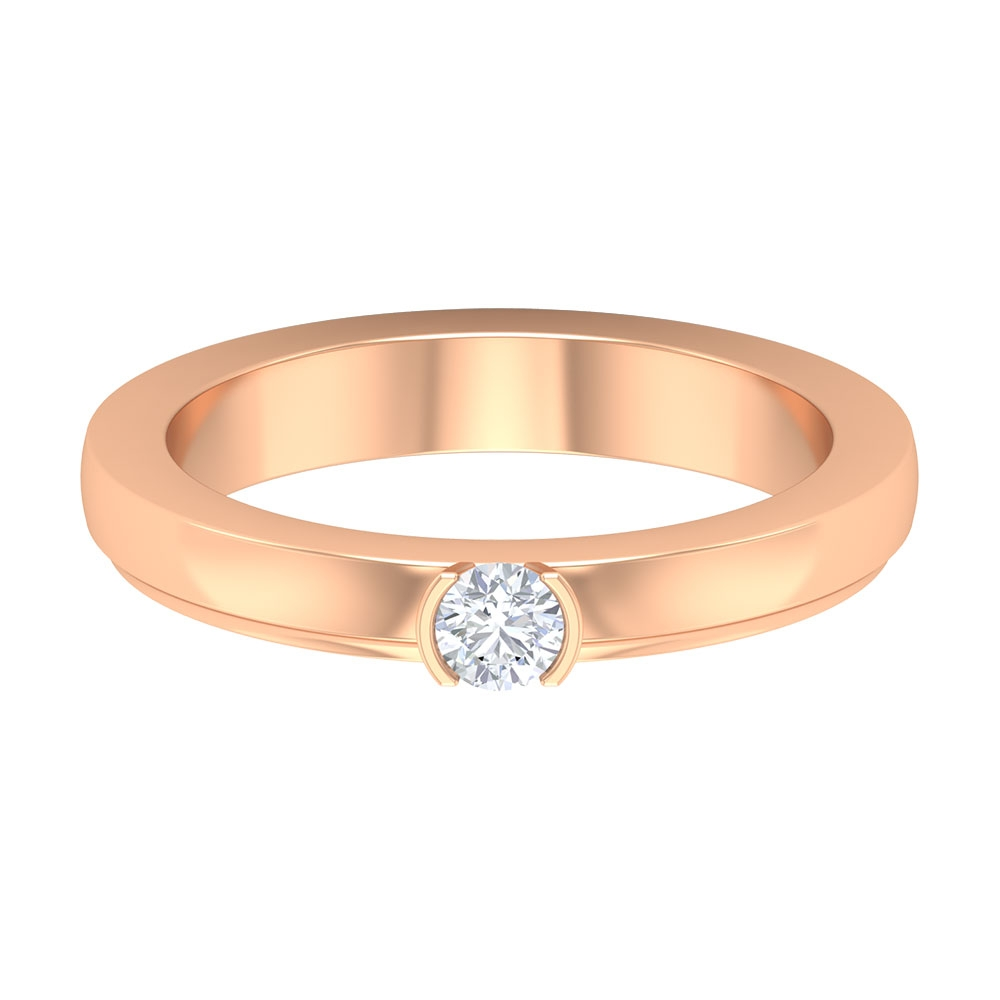 1/2 CT Diamond Solitaire Simple Engagement Ring in Bezel Setting