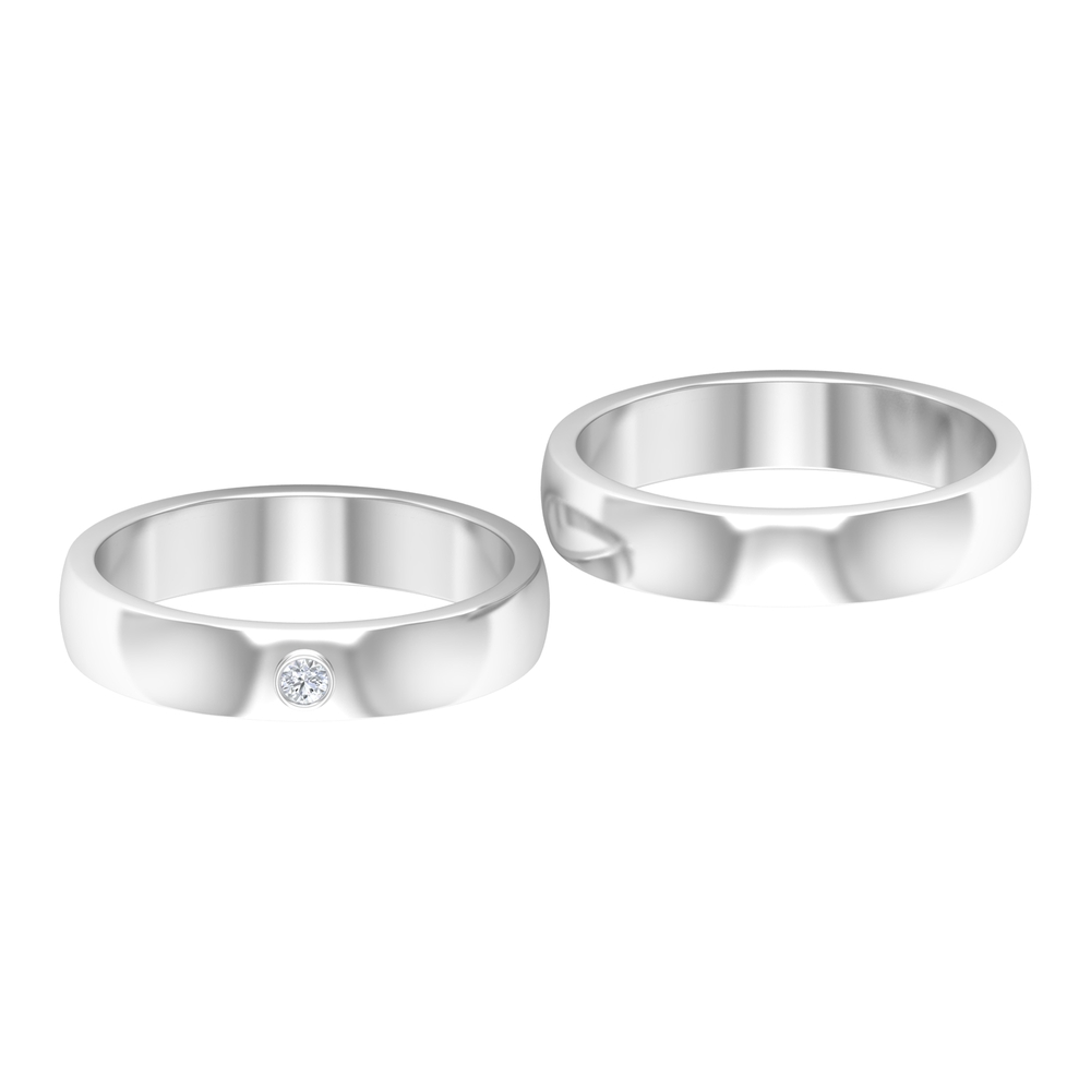 Couple Ring Set with Bezel Set Diamond in Two tone Gold
