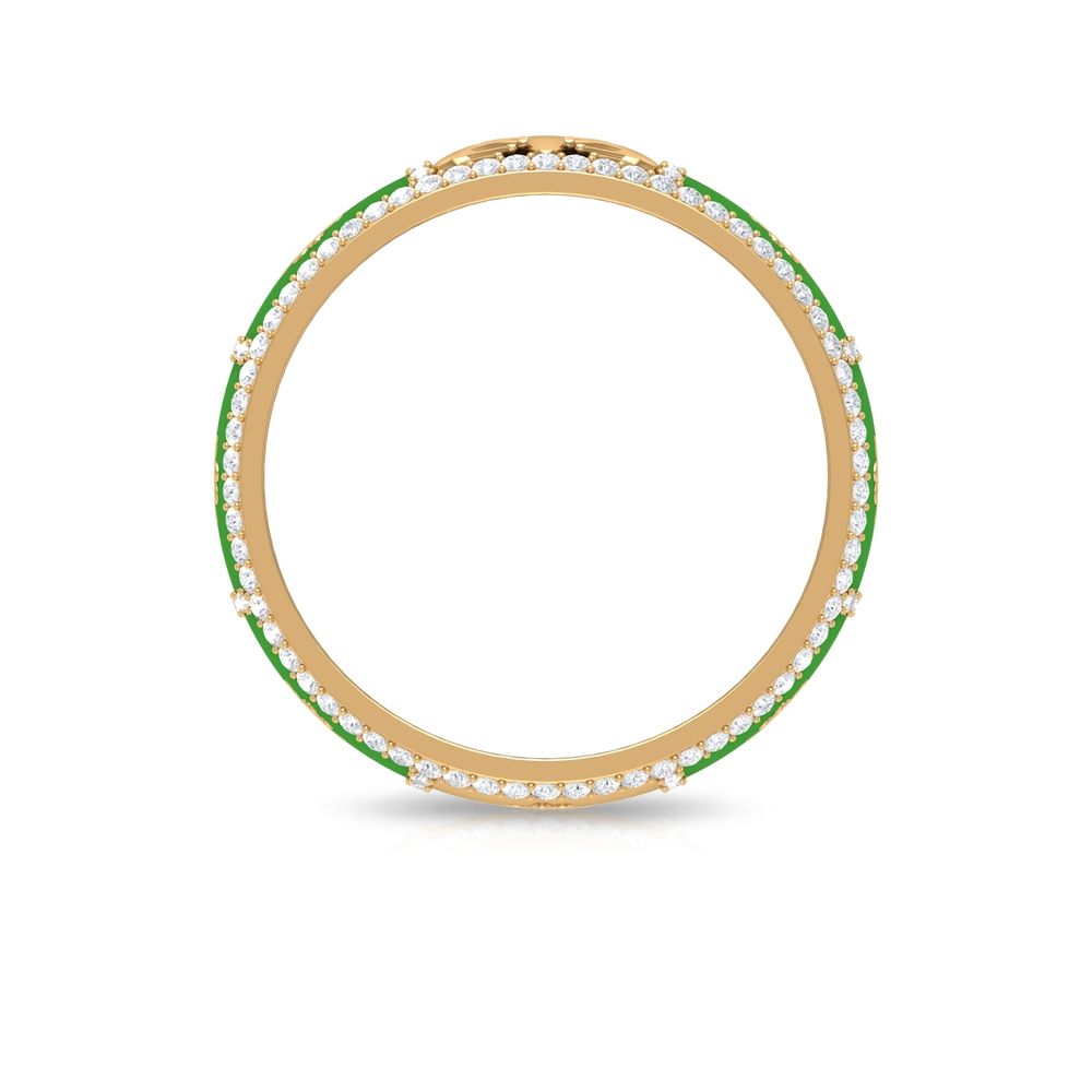 3/4 CT Enamel Coated Heart Gold Band with Diamond Accent with Surface Prong Setting