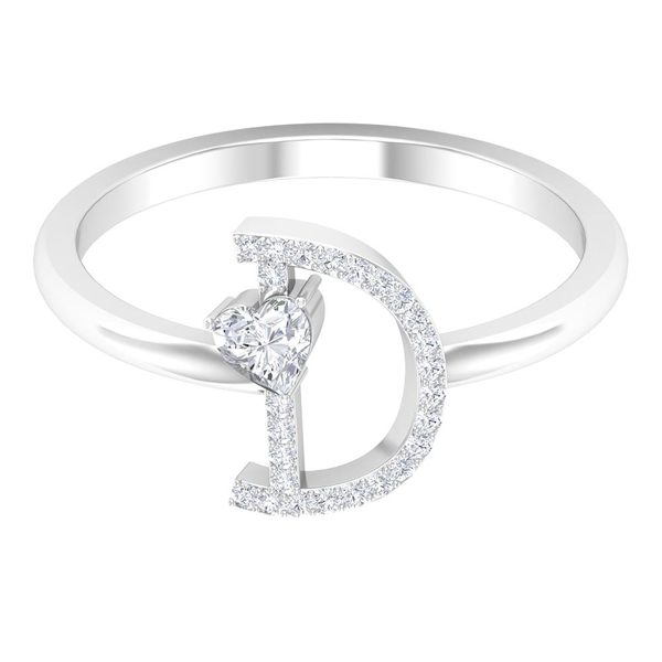 1/4 CT Initial D Alphabet Ring with Heart Shape Diamond Solitaire