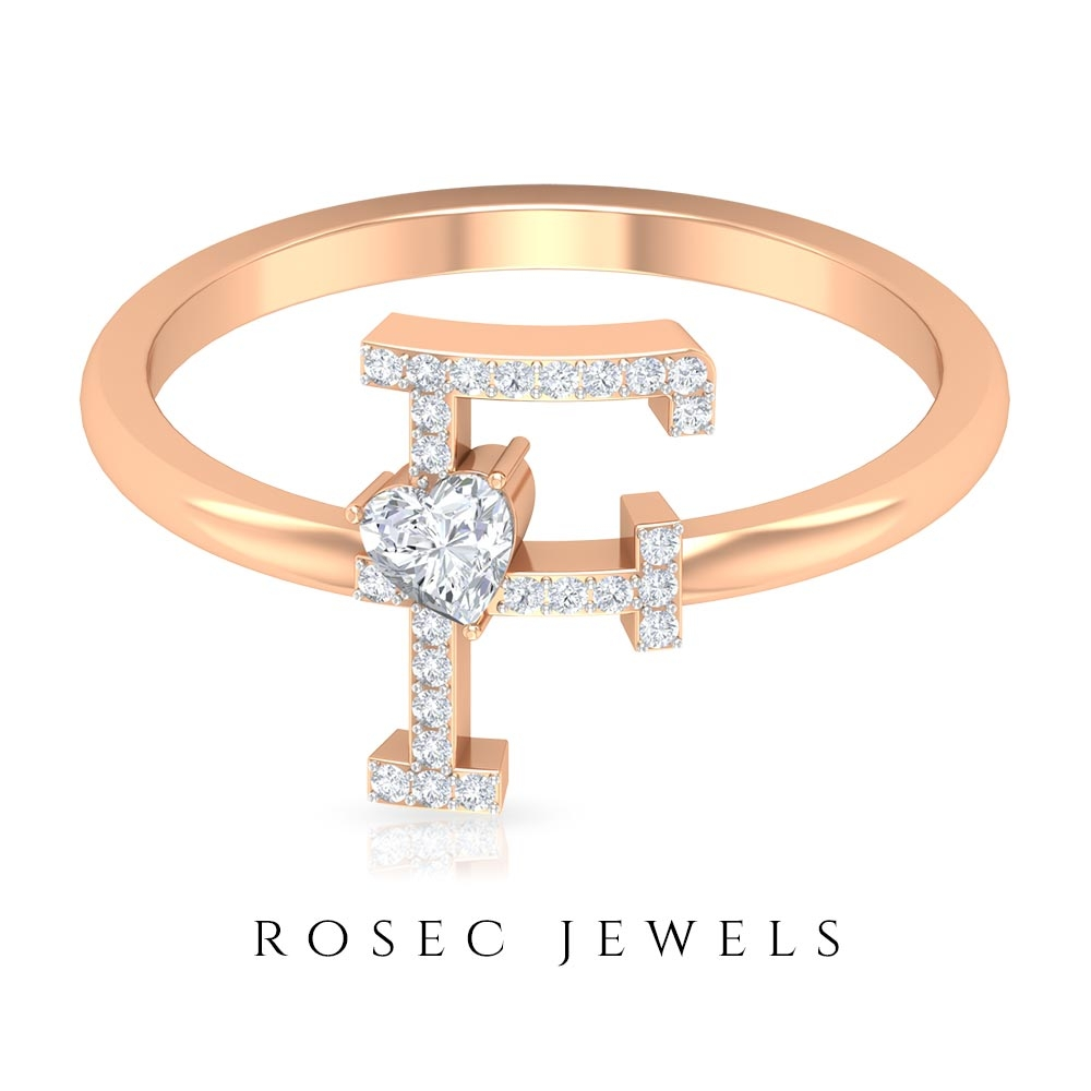 1/4 CT Initial F Alphabet Ring with Heart Shape Diamond Solitaire