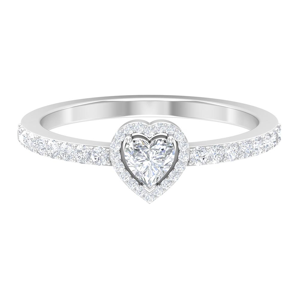 1/2 CT 3 Prong Set Heart Cut Diamond Solitaire Ring with Surface Prong Set Accent