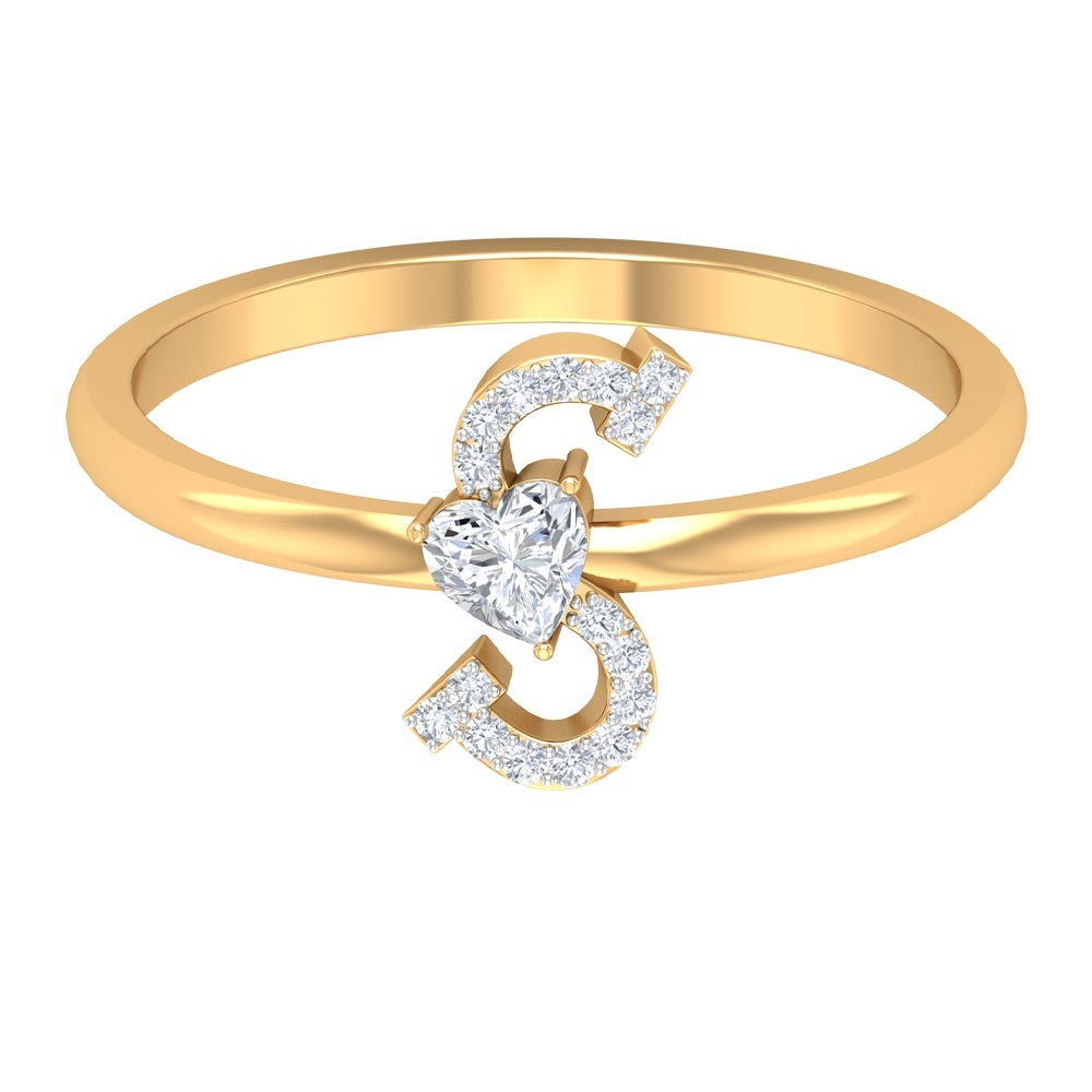 1/4 CT Initial S Alphabet Ring with Heart Shape Diamond Solitaire