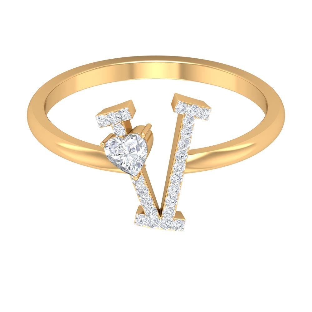 1/4 CT Initial V Alphabet Ring with Heart Shape Diamond Solitaire
