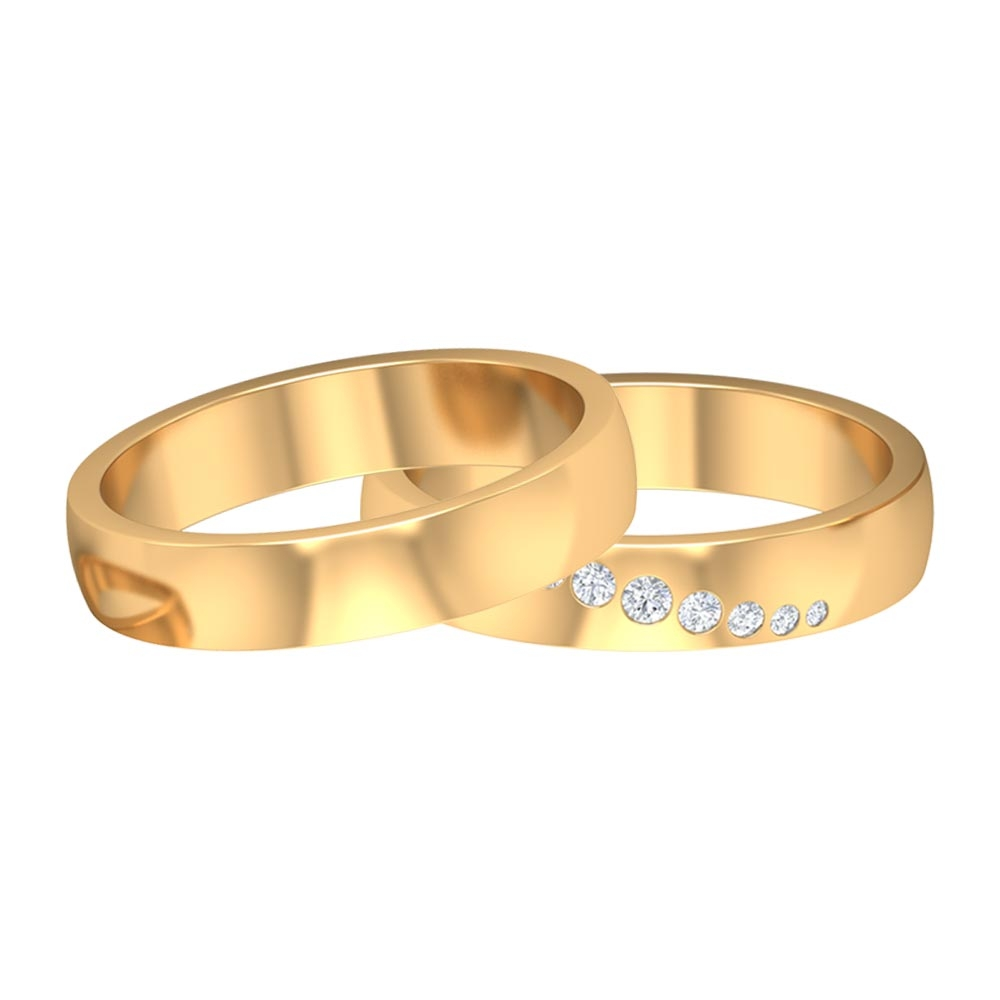 Gold Couple Ring Set with Diamonds HI-SI Quality