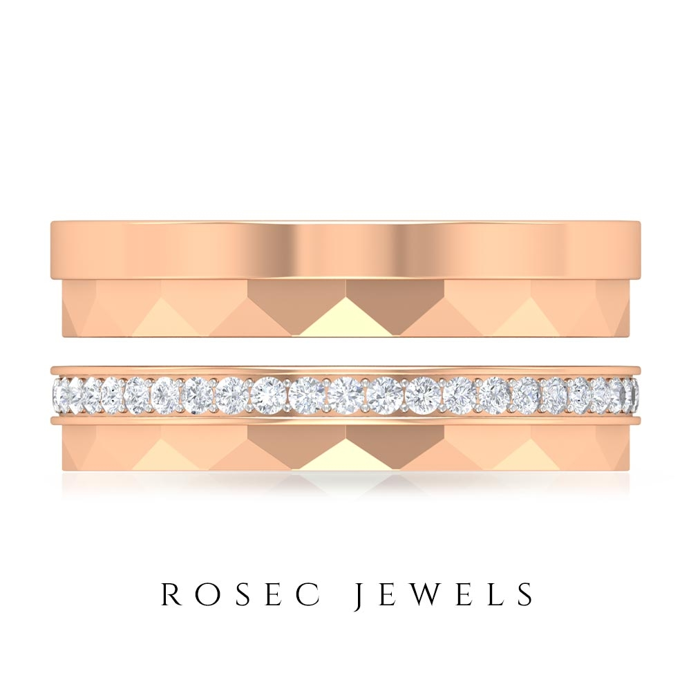 1/2 CT Diamond and Gold Textured Couple Rings Set