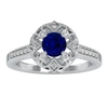 1 CT Blue Sapphire and Diamond Art Deco Engagement Ring