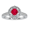 1 CT Ruby and Diamond Art Deco Engagement Ring
