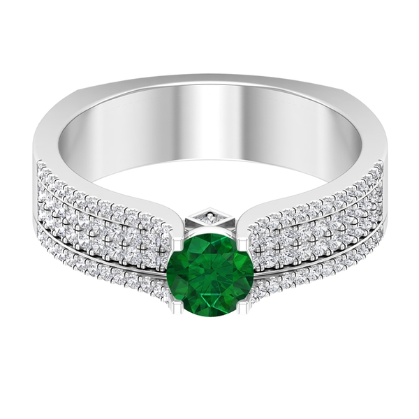 1 CT Solitaire Emerald and Diamond Accent Wide Wedding Band Ring