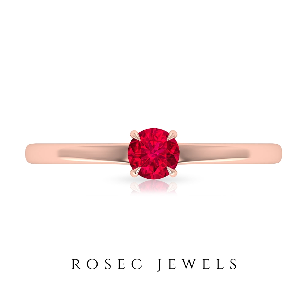 1/4 CT Ruby Solitaire Simple Engagement Ring