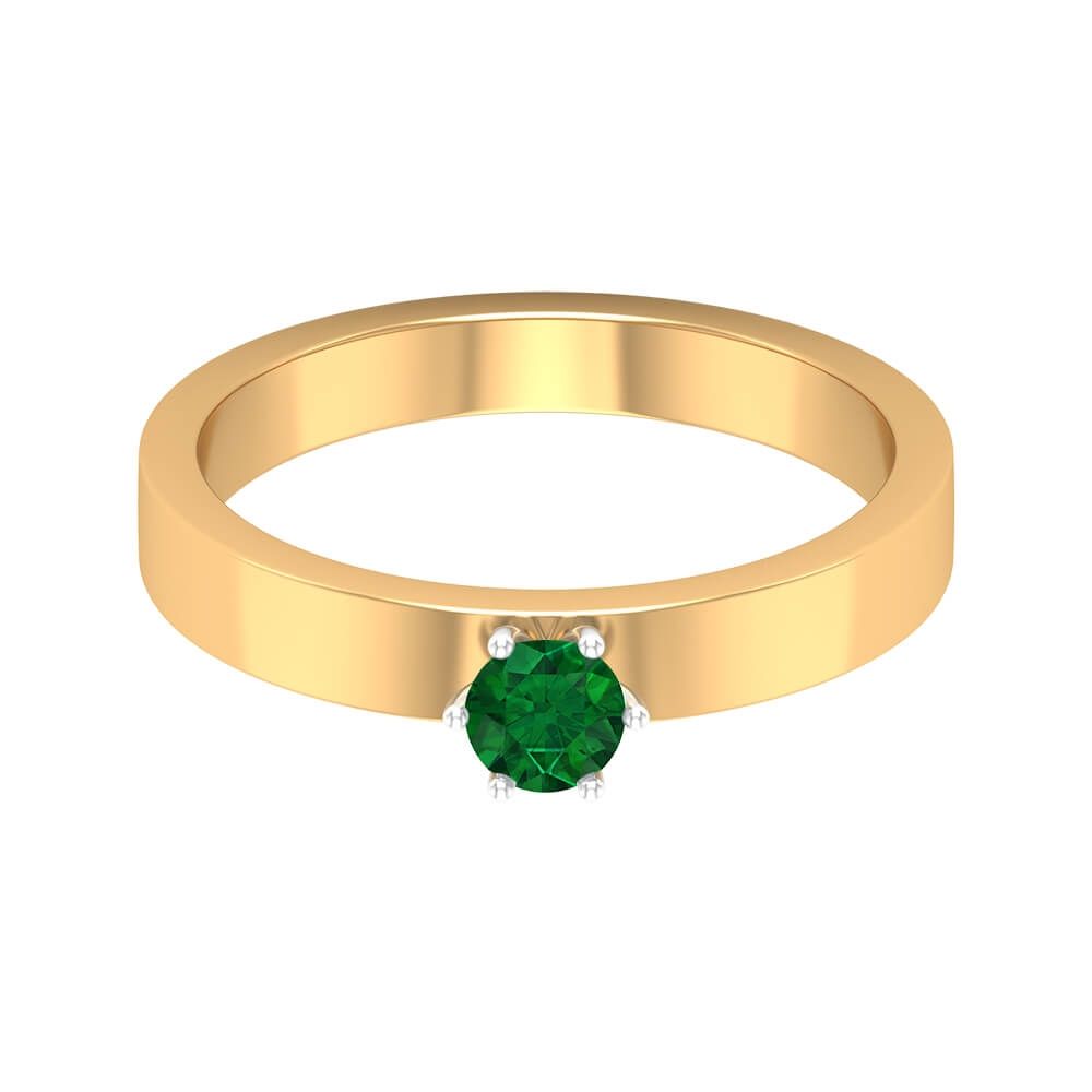 1/4 CT Emerald Solitaire Wedding Band Ring