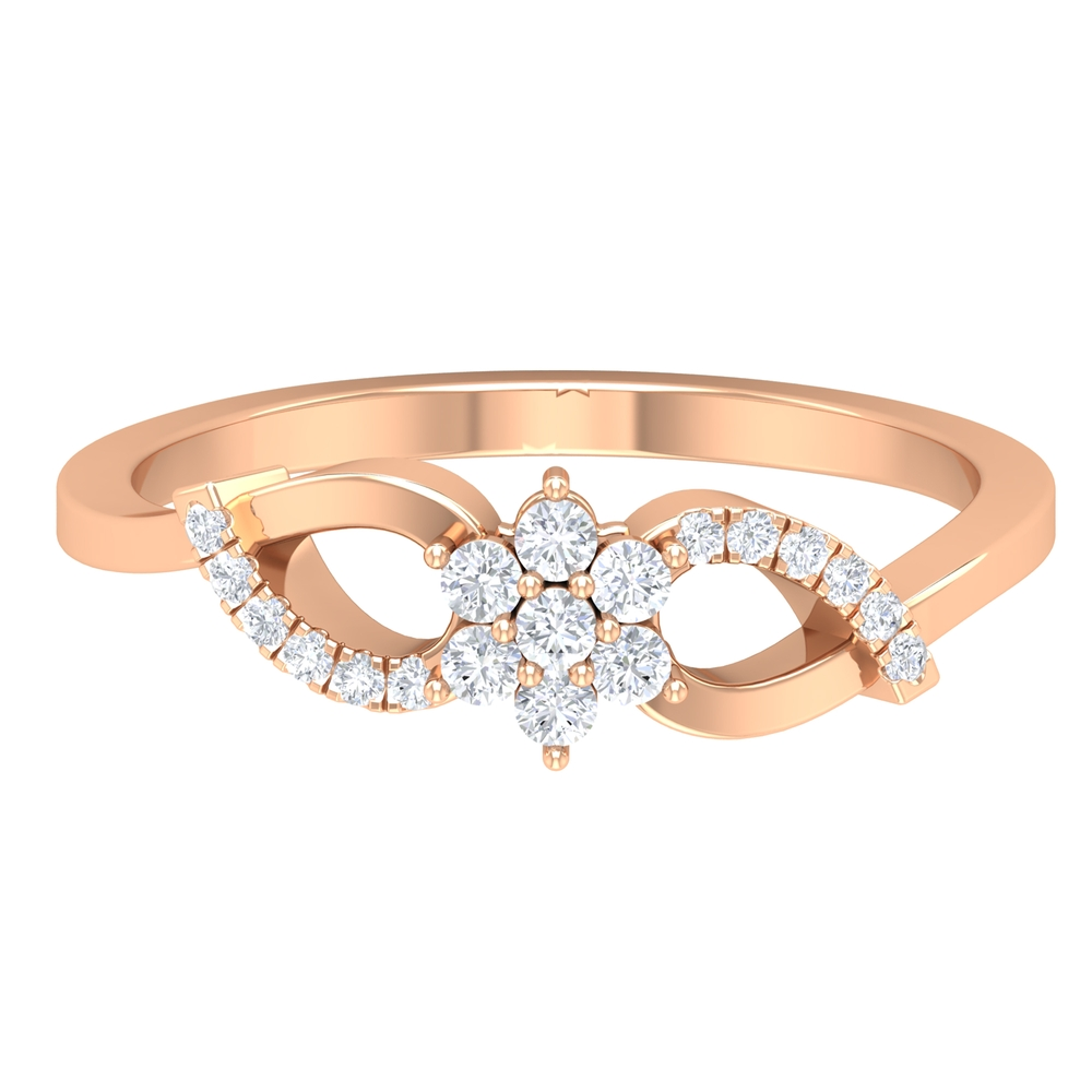 1/4 CT Flower Diamond Promise Ring in French Pave Setting