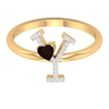 1/2 CT Diamond Initial Y Ring with Heart Shape Garnet