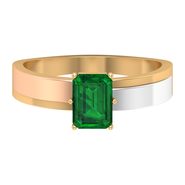 1 CT Octagon Cut Lab Created Emerald Solitaire Ring in Two Tone Gold