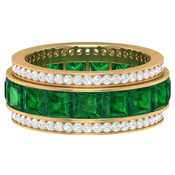 2 CT Created Emerald and Moissanite Wide Eternity Band