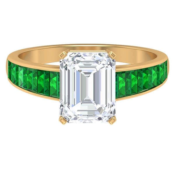 4 CT Octagon Cut Moissanite Solitaire Ring with Lab Created Emerald Side Stones