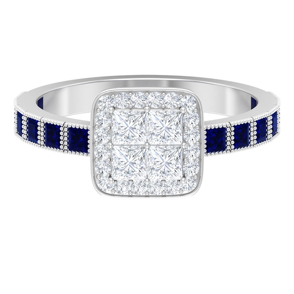 1.25 CT Diamond Halo Cluster Engagement Ring with Lab Created Blue Sapphire Side Stones