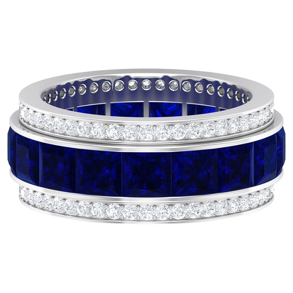 8.50 CT Princess Cut Lab Created Blue Sapphire and Moissanite  Eternity Wedding Band