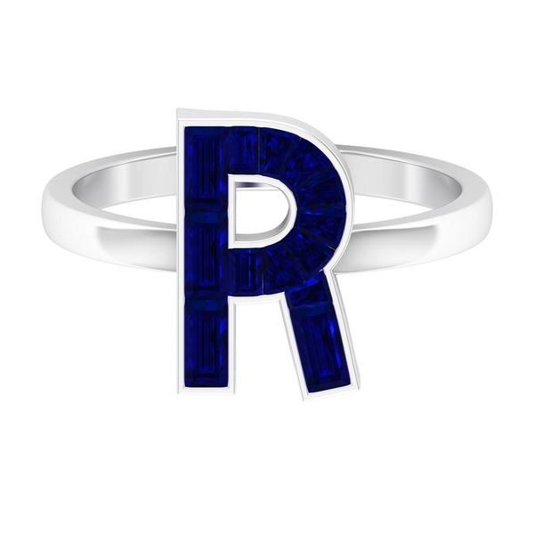 2 CT Baguette Cut Lab Created Blue Sapphire R Initial Ring