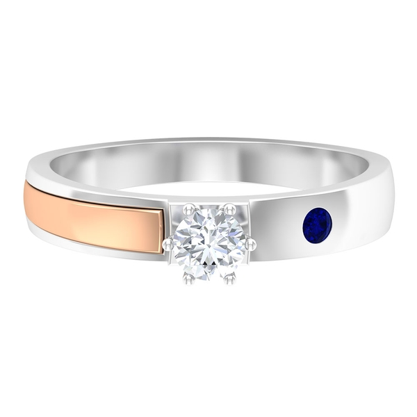 1/4 CT Lab Created Blue Sapphire and Diamond Two Tone Gold Band Ring