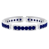 1/2 CT Created Blue Sapphire Wedding Band Ring