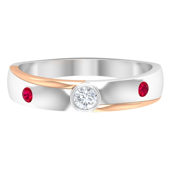 1/4 CT Two Stone Wedding Band with Diamond Solitaire and Created Ruby