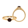 3/4 CT Round Cut Garnet Engraved Gold Solitaire Ring