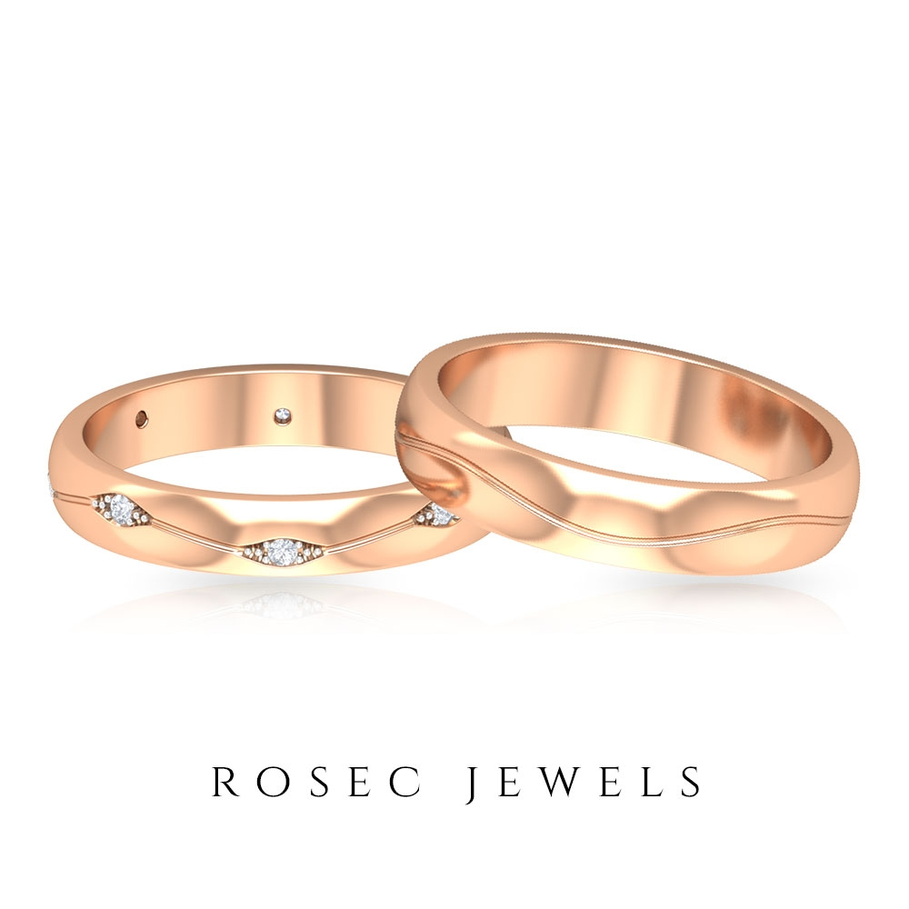 Diamond Wedding Band Set for Him and Her in Engraved Gold