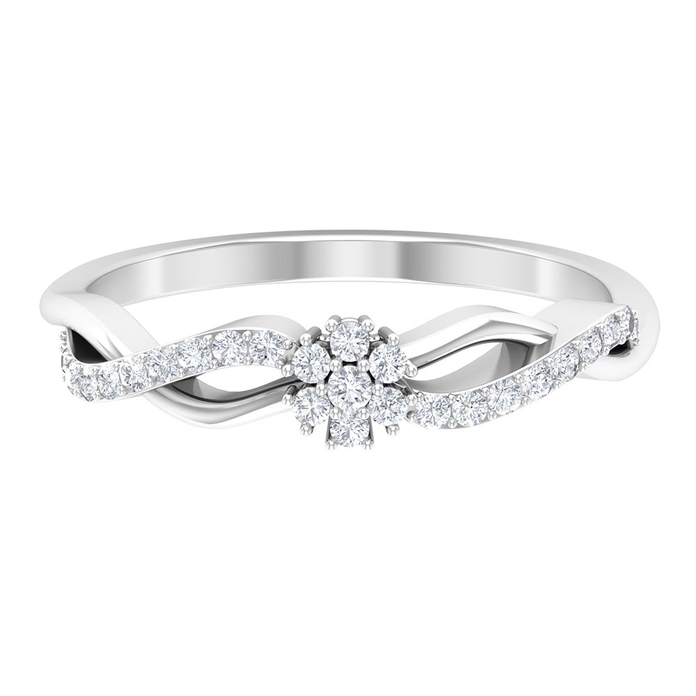 1/2 CT Floral Diamond Promise Braided Ring for Women
