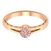1/2 CT Round Cut Lab Created Morganite Solitaire Ring with Split Shank
