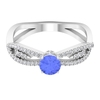 3/4 CT Tanzanite Split Shank Solitaire Ring with Diamond Accent