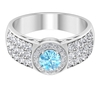 1.75 CT Classic Aquamarine Solitaire and Diamond Side Stone Engagement Ring
