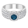1.75 CT Classic London Blue Topaz Solitaire and Diamond Side Stone Engagement Ring