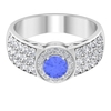 1.75 CT Classic Tanzanite Solitaire and Diamond Side Stone Engagement Ring