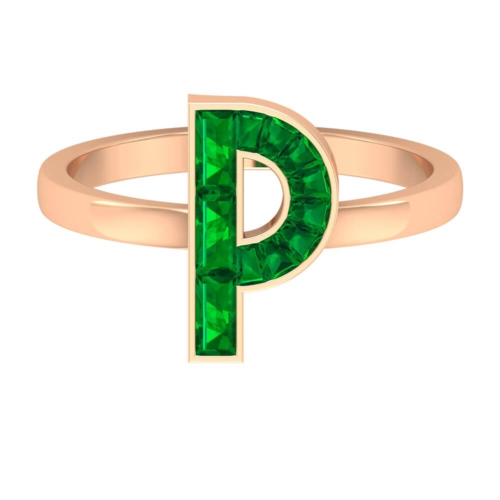 1.25 CT Initial P Ring with Channel Set Emerald