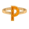 1.25 CT Initial P Ring with Created Orange Sapphire in Channel Setting
