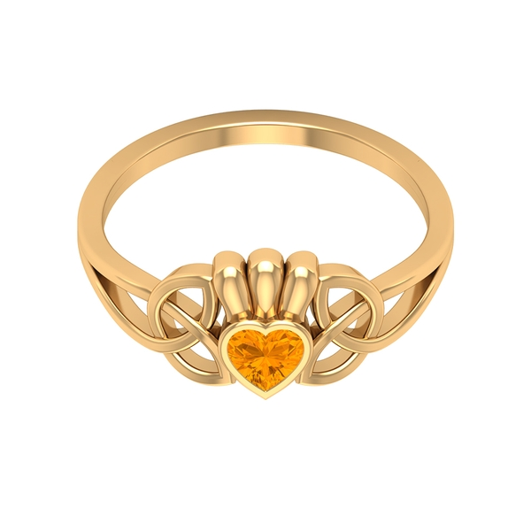 1/4 CT Heart Shape Created Orange Sapphire Celtic Knot Promise Ring (AAAA Quality)