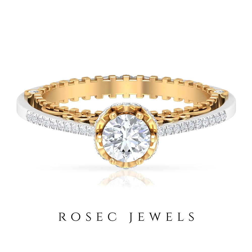 1 CT Diamond Vintage Engagement Ring in Two Tone Gold (Hi-SI Quality)