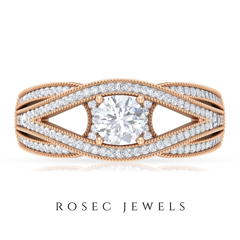 1 CT Designer Wedding Ring with Diamond Solitaire and Accent