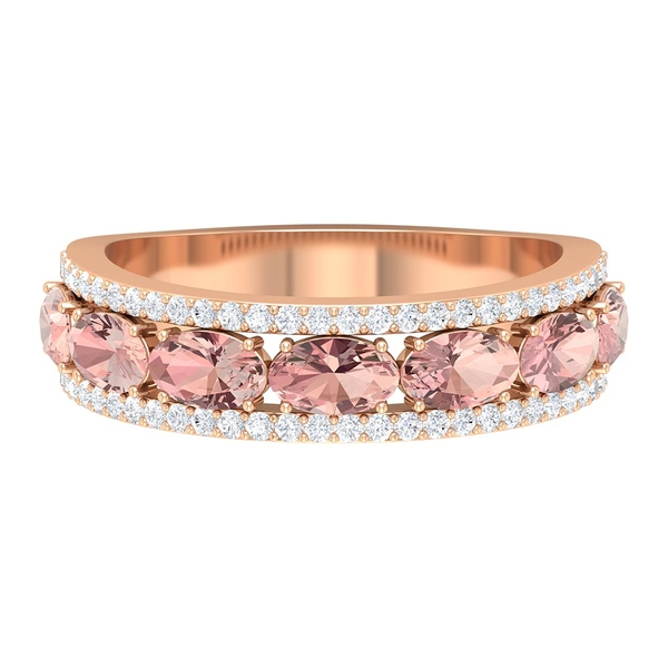 2.75 CT Created Morganite Wedding Band with Diamond Accents