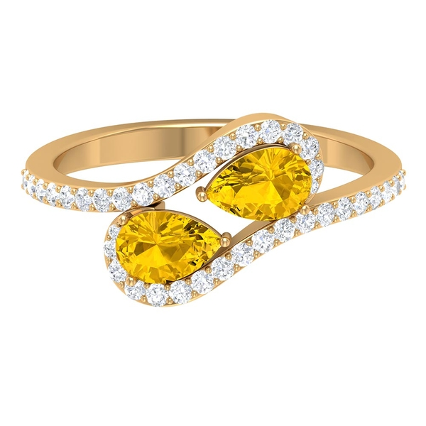 1.25 CT Two Stone Created Yellow Sapphire Anniversary Ring with Diamond Accent