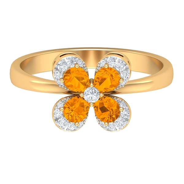 1 CT Pear Shape Created Orange Sapphire Floral Cluster Ring with Diamond Accent